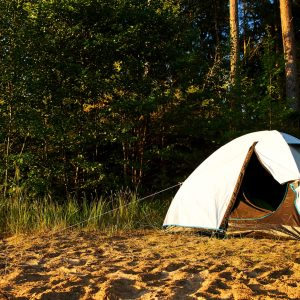 White tent at a beach surrounded by trees and forest during sunset in the summer in Sweden
